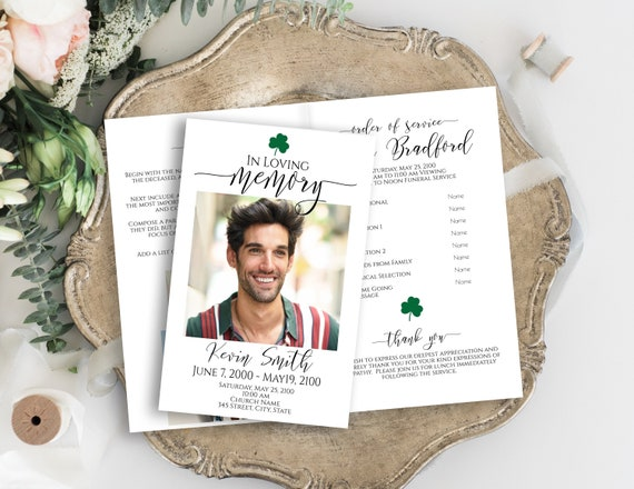 Program, Memorial Itinerary, Celebration of Life, Funeral Order of Events, Clover, Shamrock, Editable Corjl Template PPF550