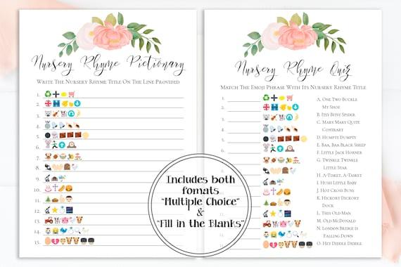 Emoji Nursery Rhyme Quiz, Pink Floral Baby Shower Game, Pink Baby Girl Theme, Printable Game PPB0230
