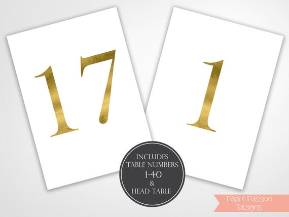Table Numbers, Modern Gold Wedding Table Numbers Printable, Classic Wedding, Table Number Cards, Instant Download PDF