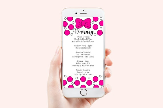 Pink Itinerary Template, Hen Party, Electronic, Bachelorette, Bridal Shower, Pink Polka Dot Theme Event Travel Itinerary, PPW55PWBOW WALT