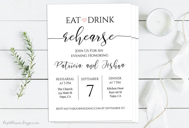 Rehearsal Dinner Invitation Wedding Minimalist Eat Drink image 0