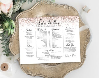 Pink Glitter Wedding Bridal Party Timeline Handout, Printable Schedule, Groomsmen Itinerary, Bridesmaid Agenda Editable PPW92 PPW92