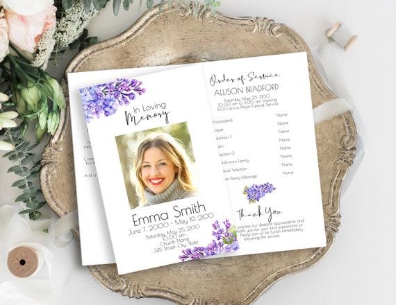 Lilac Floral Memorial Program, Purple Memorial Card, Violet Celebration of Life, Funeral Pamphlet, Editable Corjl Template PPF2021LPB SHAE