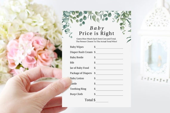 Greenery Price is Right Game Template, Baby Shower Printable 100% Editable, Templett PPB0440