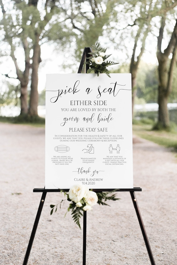 Pick a Seat Social Distancing Ceremony Sign, Wedding Welcome Sign, Safety Sign,  Template 100% Editable PPW0550 Grace
