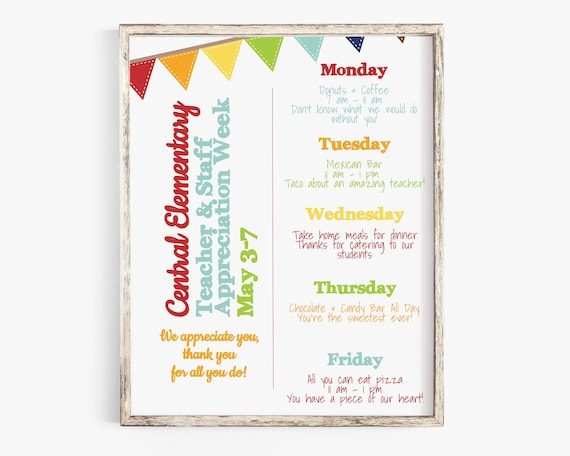 Teacher Appreciation Week Itinerary, Daily Schedule Events, Virtual, Printable, Personalized Editable Template TAW110