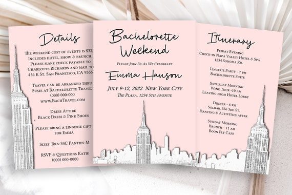 New York City Bachelorette Party Template Set,  Skyline Sketch, Pink Electronic, Evite, Hen Party, Bridal, Details, Itinerary PPW40 HUDSON