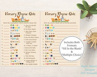 Emoji Nursery Rhyme Quiz ~ Woodland Animal Baby Shower Game ~ Gender Neutral Theme ~ Printable Game 0046