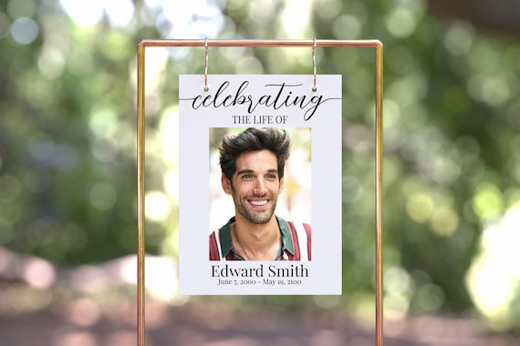 Memorial Celebrating the Life of Sign Template, Funeral Memorial of Picture, Easel Display Sign, Welcome, Editable Corjl Template PPF16 MAE