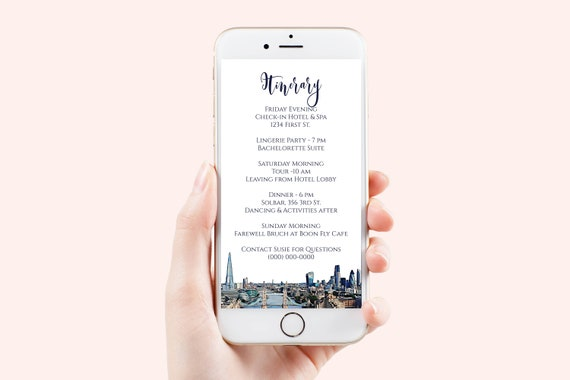 London Skyline Electronic Itinerary Template, Evite, Hen Party, Bridal Shower, Details, Weekend Events Aganda PPW44 LONDON