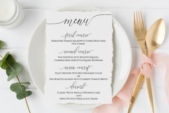 Wedding Table Menu Cards, Event Table Decor, Elegant Calligraphy, Dinner Menu 100% Editable Template, Templett PPW0560