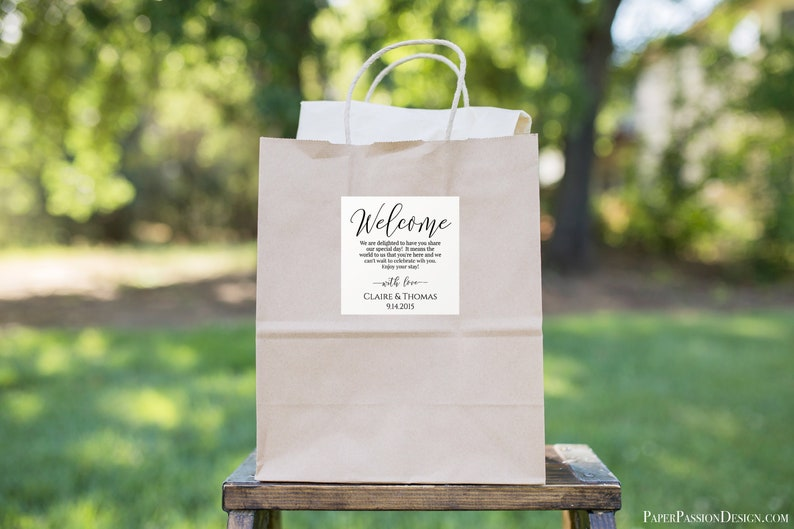 Wedding Welcome Bag Label Tag or Sticker for Out of Town image 0