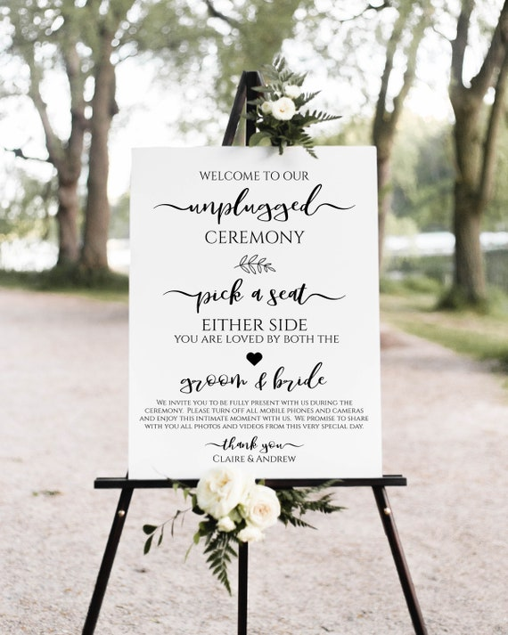 Unplugged Ceremony Sign, Pick a Seat Wedding Display, No Phones, No Cameras, Personalized Instant Download 100% Editable, Templett PPW0575