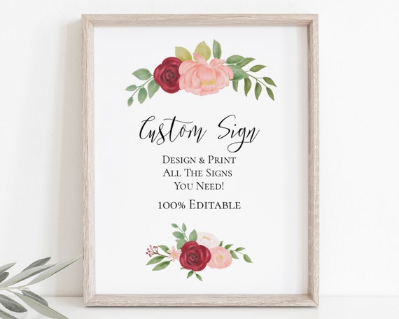 Custom Sign, Red Pink Flower Wedding Template, Floral Bridal Shower, Personalized Instant Download 100% Editable, Templett PPW0230 PPB0230