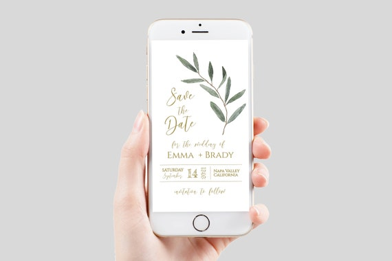 Save the Date, Electronic Invitation, Evite, Digital, Text Message, Editable Phone Invite, Gold and Greenery, Editable Corjl Template PPW800
