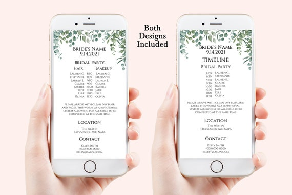 Greenery Wedding Party Hair & Makeup Timeline, Electronic Itinerary, Evite, Digital, Text Message, Editable, Corjl PPW440