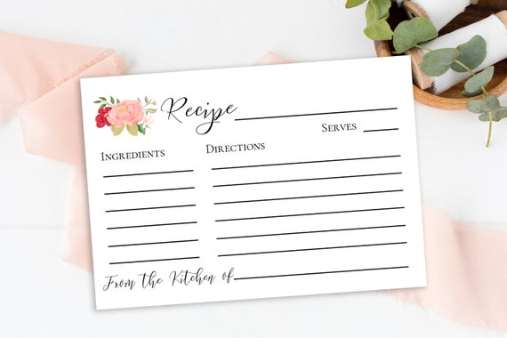 Recipe Card Template, Floral Design, Gold Pink Red Flower, Shower Editable Card, Instant Download 100% Editable, Templett PPW0230 PPB0230