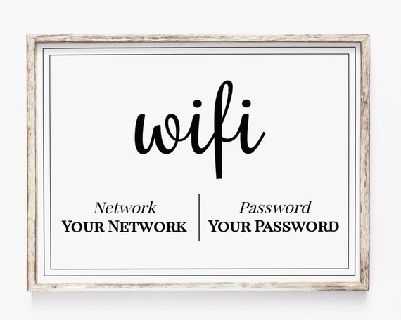 WIFI Password Printable, Wifi Password Sign, Internet Sign, Guest Room Sign, Instant Download 100% Editable, Templett PPW0570