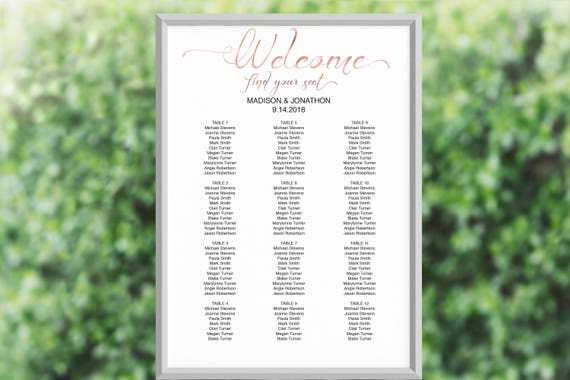Wedding Seating Chart, Rose Gold Seating Chart Printable, Seating Chart Template, Seating Board, Wedding Sign, PDF Instant Download 110RG