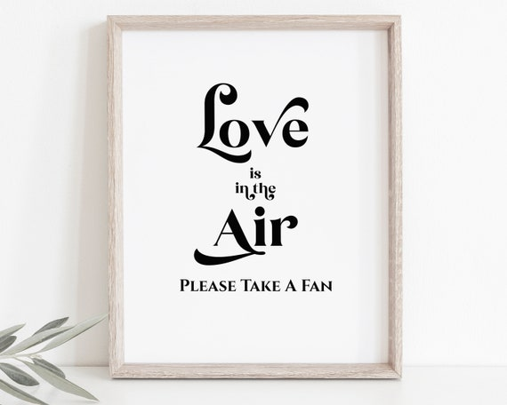 Wedding Fan Sign Template, Wedding Signage, Love is in the Air Sign, Modern Retro Sign, Personalize Editable PPW74
