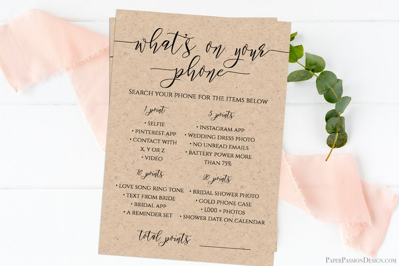 What's On Your Phone Game Template Bridal Shower image 0