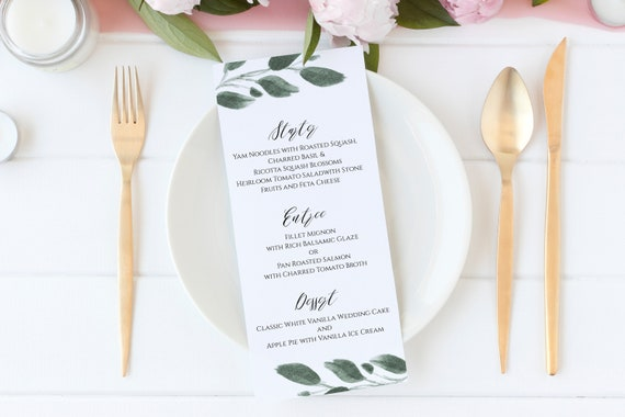 Wedding Menu Card Template, Greenery Event Table Decor, Instant Download, 100% Editable  PPW0450