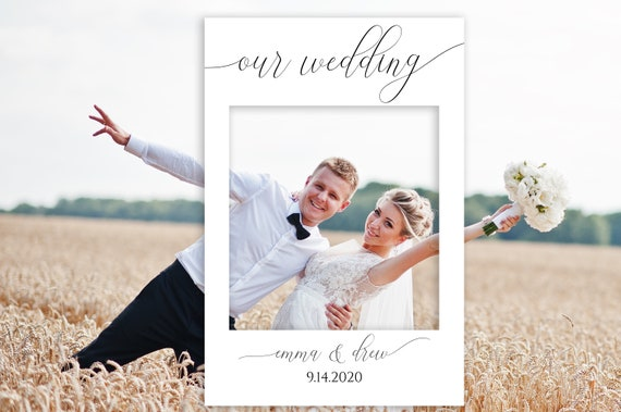 Editable Photo Prop Frame, White Our Wedding Photo Booth Prop, Baby or Bridal Shower, Templett, 100% Editable, Instant Download PDF PPW0560