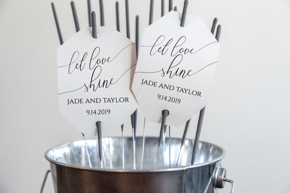 Wedding Send Off Sparkler Tag, Newlywed Let Love Sign Template, Simplistic Rustic Elegant 100% Editable, Templett  PPW0560