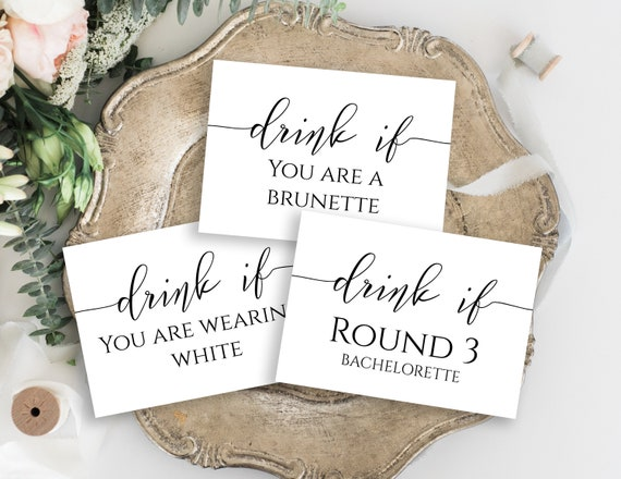 Bachelorette Party Drink If Cards Template, Bach Weekend Activity, Drinking Game, Elegant Font Bridal Activity GRACE PPW0550