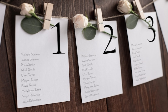 Wedding Seating Table Cards, Poster, Elegant Simple Design Display 100% Editable Template, Templett PPW0500