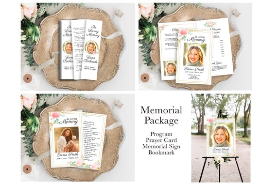 Pink Floral Memorial Package Welcome Sign, Program, Prayer Card, Bookmark, Celebration of Life, Gold & Greenery, Corjl Template PPF260