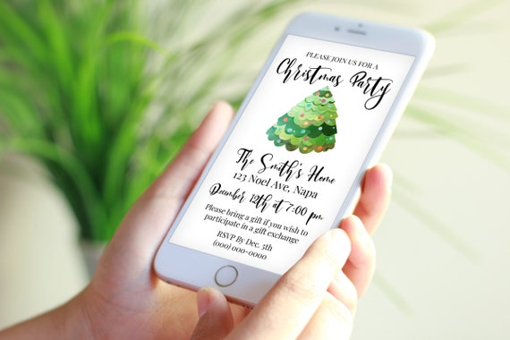 Holiday Party Electronic Invitation, Christmas Tree Christmas Party Evite, Electronic Invitation Digital, Text Invite Template NOEL-5 PPC-19