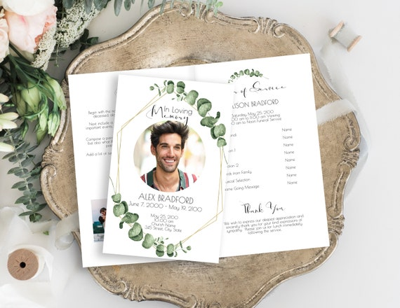 Celebration of Life Program, Funeral Order of Events, Greenery Printable Template, Gold Frame Editable Corjl Template CL445