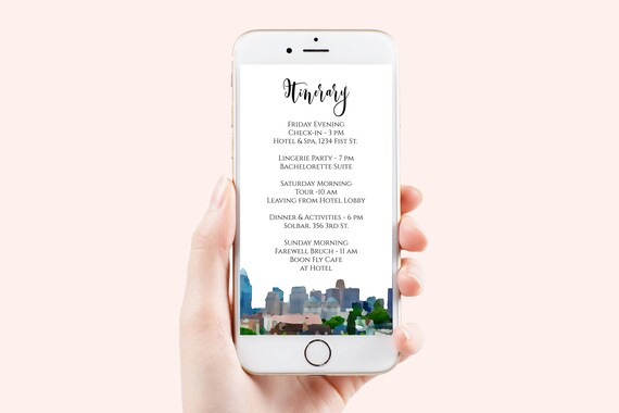 Cincinnati Electronic Itinerary Template, Weekend Events, Wedding Schedule, Timeline Card, Text Message, Email, Editable  PPW71