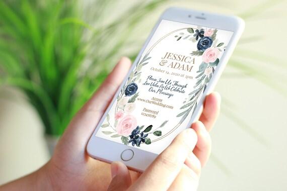 Virtual Wedding Evite, Floral Electronic Virtual Invitation Digital, Text Invite, Blue & Pink Editable Template VIDERE-C4