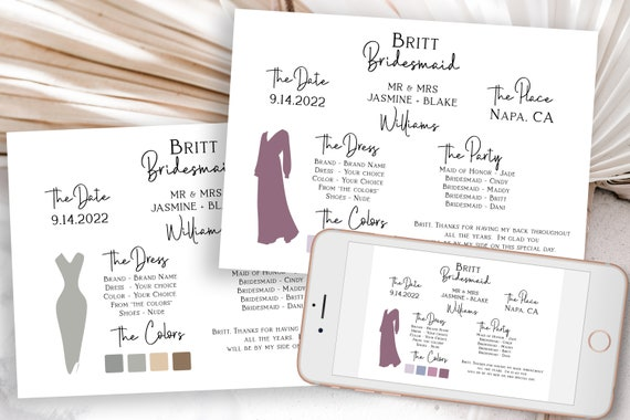 Bridesmaids Information Card, Printable Bridesmaid Details, Letter to Bridesmaid, Maid of Honor Proposal Box Editable PPW508