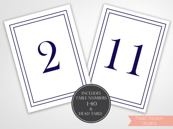 Navy Table Numbers, Simple Modern Wedding Table Numbers Printable, Classic Border Numbers, Table Number Cards, Instant Download PDF