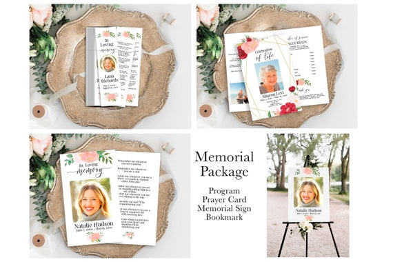 Pink Floral Memorial Package Welcome Sign, Program, Prayer Card, Bookmark, Celebration of Life, Editable Corjl Template CL230