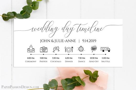 Wedding Day Timeline, Printable Wedding Day Schedule, Reception Itinerary, Bridal Agenda, 100% Editable, Templett  PPW0560