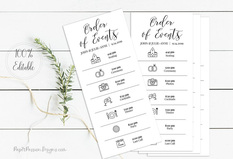 Wedding Order of Events Card Printable Wedding Day Schedule image 0