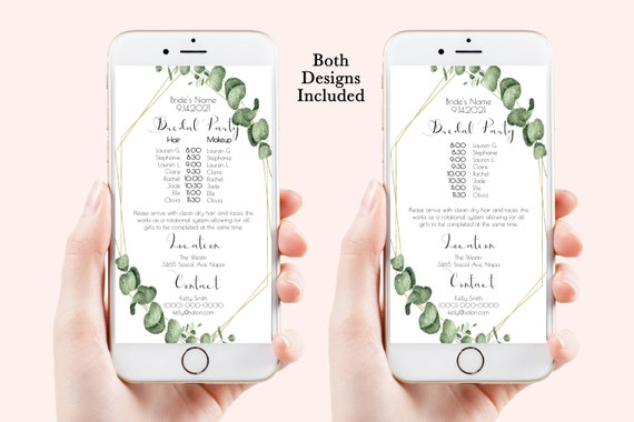 Greenery Wedding Party Hair & Makeup Timeline, Electronic Itinerary, Evite, Digital, Text Message, Editable, Corjl PPW445