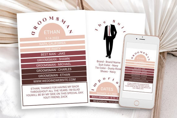 Retro Groomsman Information Card, Printable Best Man Details, Modern Font Wedding Party Detail Cards Editable PPW302 HEATHER