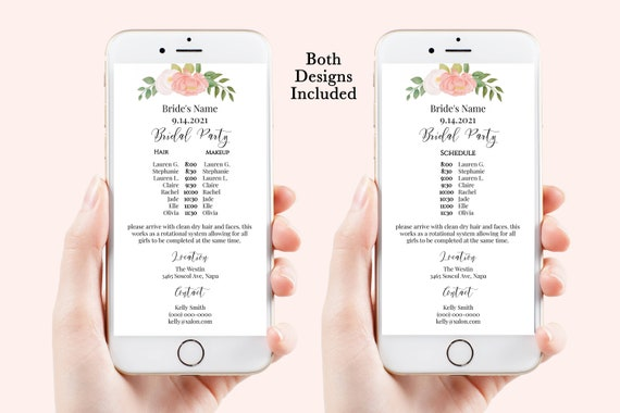 Pink Wedding Party Hair & Makeup Timeline, Electronic Itinerary, Evite, Digital, Text Message, Pink Blush Floral Editable, Corjl PPW230