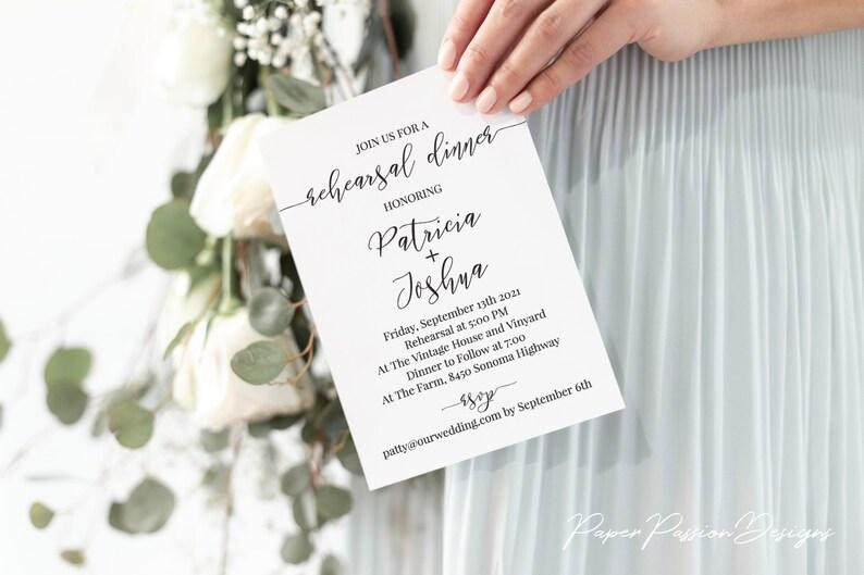 Rehearsal Dinner Invitation Wedding Printable Invite Heart image 0