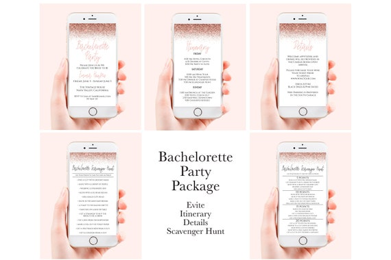 Rose Gold Bachelorette Party Electronic Template Package , Evite, Itinerary, Details, Scavenger Hunt, Mobile Phone Format PPW90 PPW92