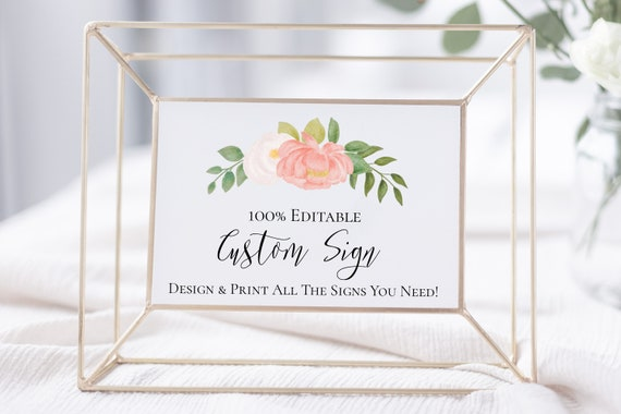 Custom Sign, Pink Flower Wedding Template, Floral Bridal Shower, Baby Shower Instant Download 100% Editable, Templett PPW0230 PPB0230