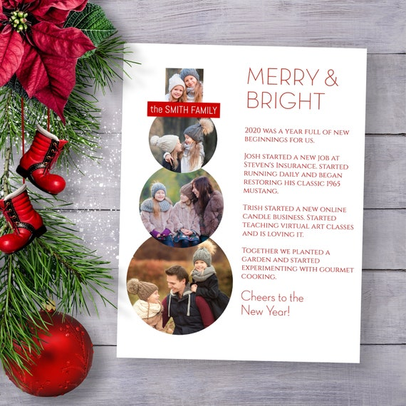 Christmas Photo Letter Template, Merry & Bright, Year in Review, Christmas Newsletter, Photo Snowman, 100% Editable NOEL-N8  PPC-19