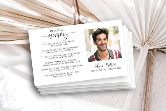 Memorial Card, Prayer Card, Celebration of Life, Funeral Poem Card, Email Text Memorial,  Editable Corjl Template PPF550-MemCard1L
