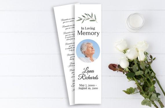 Greenery Memorial Bookmark, Celebration of Life, In Loving Memory Funeral Card, Editable Corjl Template CL800
