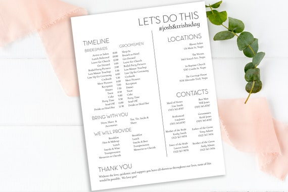 Wedding Party Timeline, Printable Wedding Day Schedule, Groomsmen Itinerary, Bridesmaid Agenda 100% Editable, Templett PPW0500